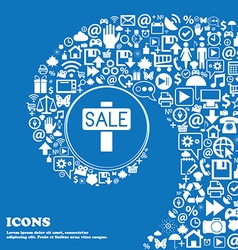 Sale price tag icon sign nice set of beautiful vector