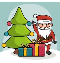 santa greets tree and gift boxes design vector image