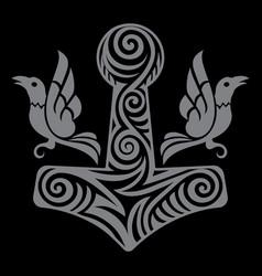 Scandinavian viking design thors hammer - mjolnir vector