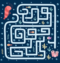 Sea maze game for kids help shrimp find the vector