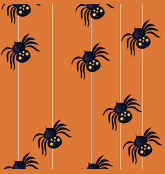 seamless pattern with spiders descending on a vector image
