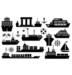 Set of ships and boats icons vector image vector image