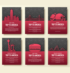 set of usa country ornament concept vector image