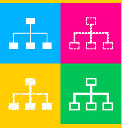 Site map sign four styles icon on four color vector