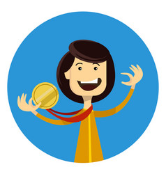 sport girl winner holding gold medal in the hand vector image