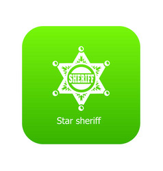 Star sheriff icon green vector