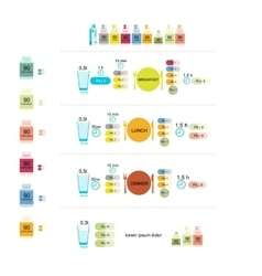 Table of taking pills infographic for your design vector image