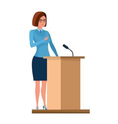 Teacher stands near pedestal and tells information vector