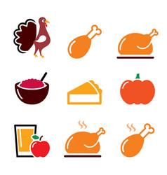 thanksgiving day food icons set - turkey pumpkin vector image