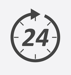 Time icon flat 24 hours on white background vector