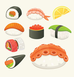 Traditional japanese sushi and rolls asian vector