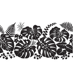 Tropical plants silhouette pattern vector