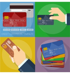 Using and operating credit cards vector