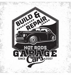 vintage hot rod emblem design vector image