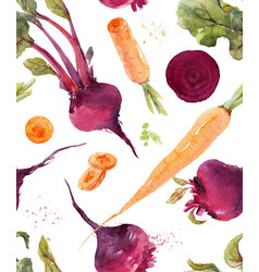 Watercolor beet pattern vector