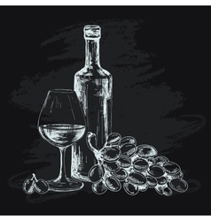 Wine glass and grapes vector