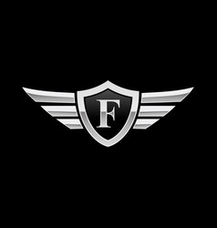 wing initial logo letter f shield icon vector image