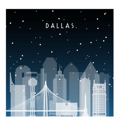 Winter night in dallas night city in flat style vector