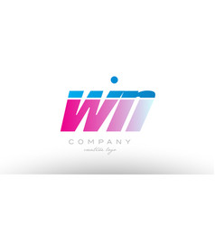 Wn w n alphabet letter combination pink blue bold vector