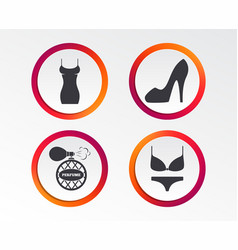 women dress icon sexy shoe sign perfume vector image