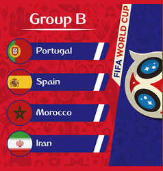 World cup 2018 group b team image vector