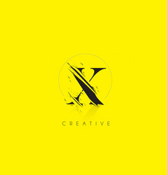 x letter logo with vintage grundge drawing design vector image