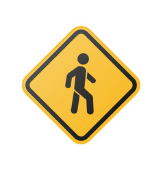 Yellow pedestrian crosswalk sign vector
