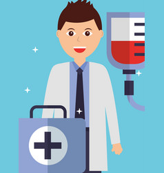 young doctor with kit first aid and blood bag vector image