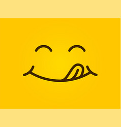 Yummy smile yellow background cartoon line vector