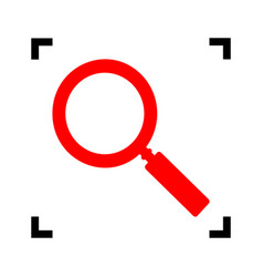 zoom sign red icon inside vector image