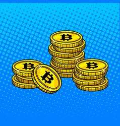 bitcoin money pop art style vector image