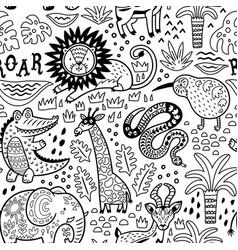 fashion safari seamless pattern with jungle vector image vector image
