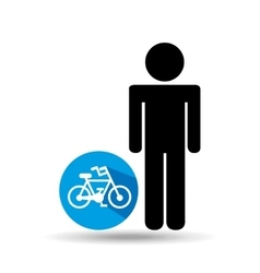 man silhouette bycicle icon design vector image vector image
