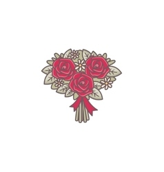 Roses bouquet decorated with ribbon vector image