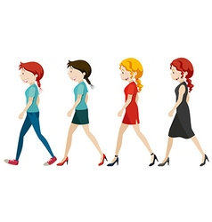 Women walking on white background vector image