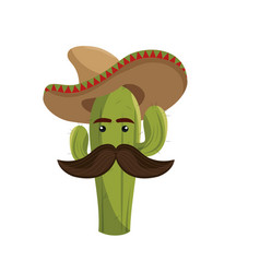 animated sketch cactus with mexican hat and vector image vector image