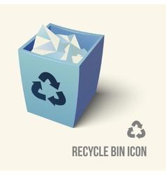 blue color recycle bin icon vector image