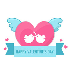 heart with wings and lovebirds vector image vector image