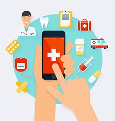 Mobile phone with health application open with vector image