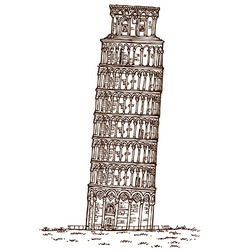 pisa tower hand draw vector image