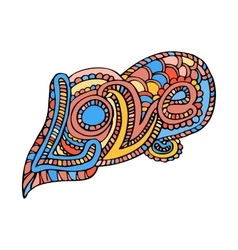 Zentangle doodle heart love with ornaments vector image