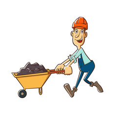 builder with trolle vector image
