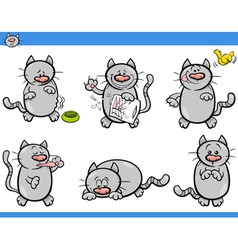 cartoon cat characters set vector image vector image