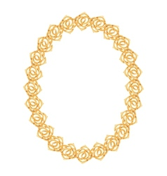 gold chain rose - oval frame on a white background vector image vector image