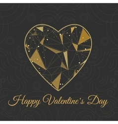 heart symbol shape with golden triangles on white vector image vector image