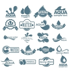 Logo set Label for mineral water Aqua icons vector image