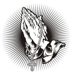 Praying hands with rosary and shining tattoo vector image