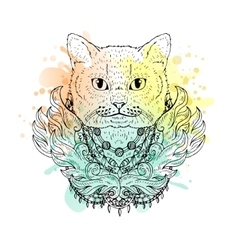 Black and white animal Cat head watercolor vector image vector image
