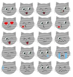 Cute grey cat emoticons vector image vector image