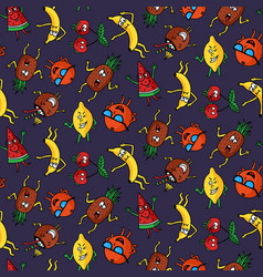 dark crazy fruit pattern vector image